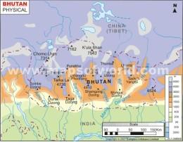 bhutan-physical-map