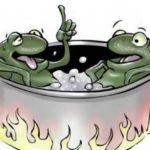 vignetta di rane in pentola a bollire